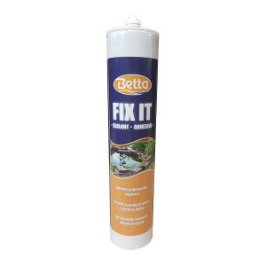 Betta-Fixit Underwater sealant works on wet surfaces (must be clean) and under water. Will stick to almost any surface. Use this to do things such as; repair leaks in pond liners fibre glass and plastic pools as well as concrete water courses. Also works on glass too.